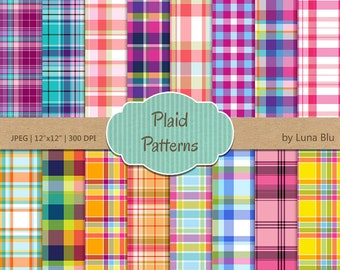 """Plaid Digital Paper: """"Plaid Patterns"""" scrapbooking paper, plaid backgrounds, Instant download"""