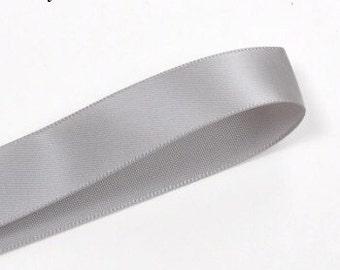 Gray ribbon double sided satin ribbon 100 yards