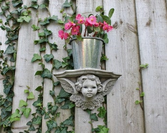 Angel Cherub Pot Plant Holder, Stone Shelf Wall Decor, Cornwall Stoneware, Garden , Patio,  Outdoors, Gift Idea