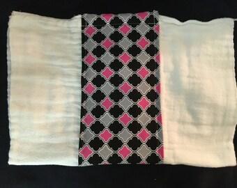 Pink, Gray, Black Geometric Burp Cloth