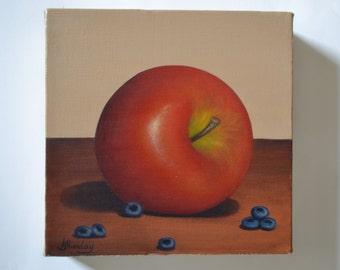 Original 6x6' acrylic apple painting, blueberry painting, kitchen painting, fruit painting, small still life painting, food painting, berry