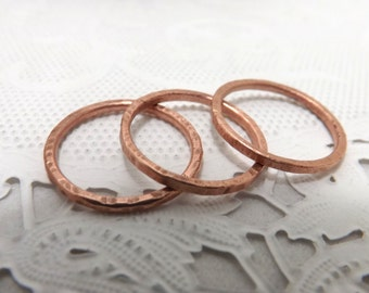 3 stackable copper stacking rings layering rings, layered bands size 6 or choose your size