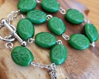"Shamrock Rosary Bracelet 8"""