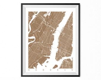 HOBOKEN Map Art Print / Hoboken City Poster / Hoboken Wall Art / New Jersey/ Gift / New Jersey home decor