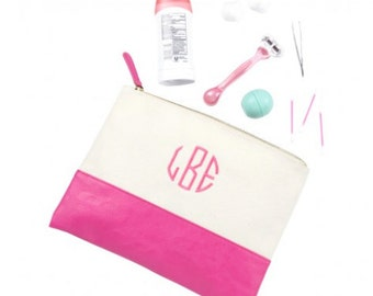 Large Acc/Cosmetic Bag, Pink , Monogrammed, Bridesmaids Gifts, Everyday Essentials Bag
