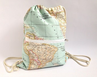 Backpack world map, backpack, backpack bag, rucksack fabric, fabric world map, world map, cartography, map purse, map, wallet, backpack map