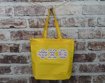 Phi Chi Theta Yellow Eco Friendly Zippered Tote with Lavender Chevron Fabric on White Twill