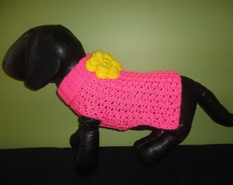 New Bright Pink with Yellow Flower Dog Turtleneck Sweater/Clothing Yorkie Chihuahua Terrier Small S