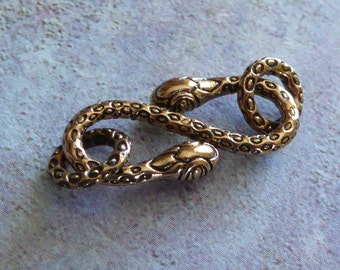Bronze Snake Hook And Eye Clasp ~ 21mm X 10mm
