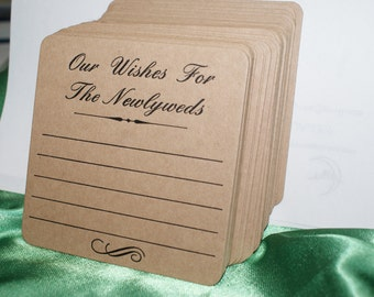 Brown Natural Kraft Board Rustic  Our Wishes Wedding  Coasters Letterpress Printed X 50