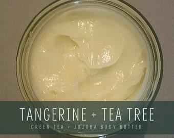 Tangerine + Tea Tree Whipped Body Butter, Green Tea & Jojoba formula, Handmade Small Batch Organic Body Butter