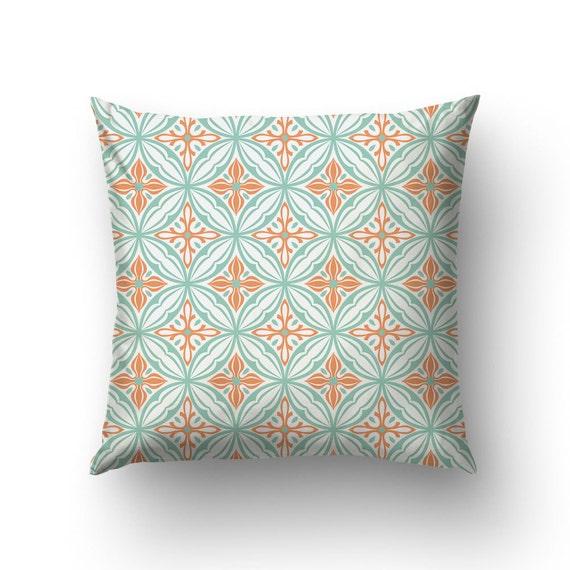 Turquoise Pillow, Spanish Tile Art, Lumbar Pillow, Vintage Pillow, Canvas Pillow Covers, Modernist Style