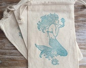 10 mermaid favor bags, mermaid party favors, beach wedding favor bags, beach party favors