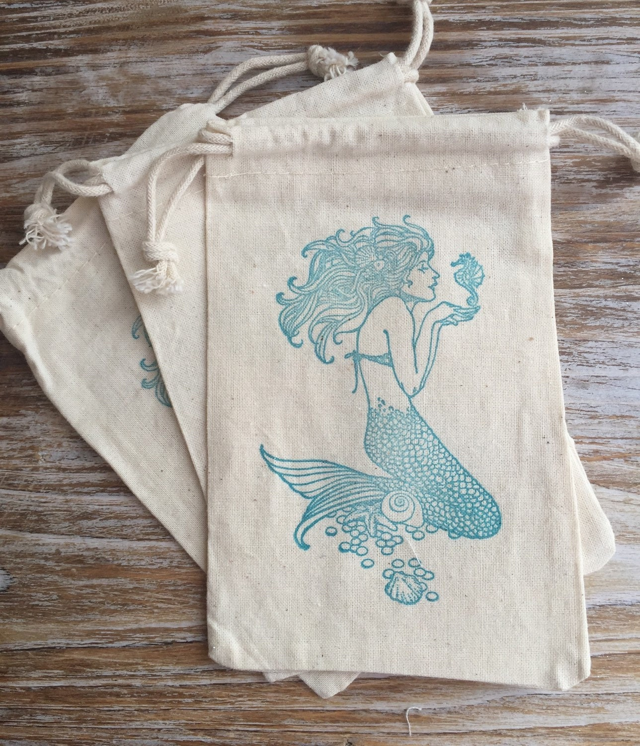 Wedding Favor Bags Beach : 10 Mermaid Favor Bags, Mermaid Party Favors, Beach Wedding Favor ...