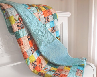 Modern postage stamp quilt / lap quilt / twin bed quilt / multicolored and turquoise quilt
