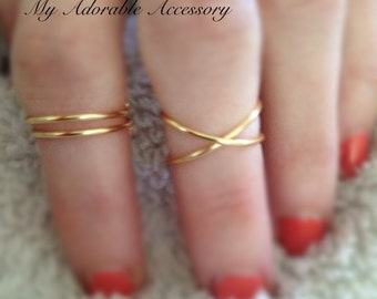 Set of three Midi Rings/Cross Ring/Single Band Rings/Above the Knuckle Rings