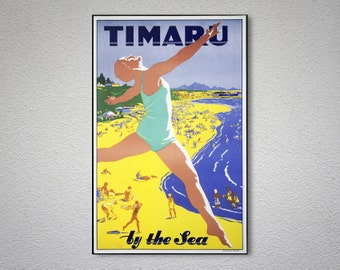 Timaru by the Sea New Zealand Vintage Travel Poster - Poster Paper, Sticker or Canvas Print