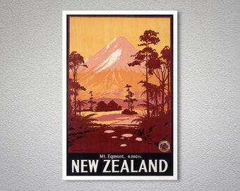 Egmont New Zealand Vintage Travel Poster, 1934  - Art Print - Poster Print, Sticker or Canvas Print
