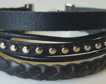 Black Leather Wrap Bracelet, Leather Bangle, Multistrand Leather Bracelet, Leather Cuff, Boho Bracelet, Layered Leather Wrap Bracelet