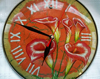 Wall Clock calla flowers/Glass wall clock/Decoupage wall clock/