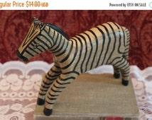 "Summer Heat SALE Carved Wood Zebra 7.25"" Tall - Folk Art Style"