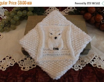 Summer Heat SALE Vintage White Crocheted Owl Pot Holder