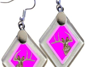"""Earrings """" Pink Jackalope"""" from rescued, repurposed window glass~Lightening landfills one tiny glass diamond at a time!"""