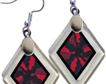 "Earrings ""Serendipity in Red"" from rescued, repurposed window glass~Lightening landfills one tiny glass diamond at a time!"