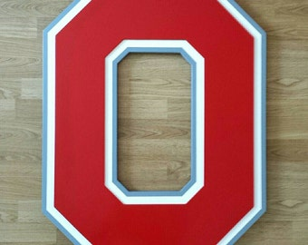 OHIO STATE.....(2 sizes.....2 feet tall as well as extra large, almost 3 feet tall).....3 dimensionally layered wooden wall display