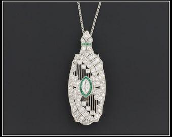 Art Deco Diamond Necklace | Vintage Diamond & Emerald Necklace or Brooch | Platinum and Diamond Brooch or Necklace