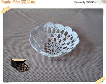 SWEET BABY White Lacy crochet bowl, crochet basket, lace bowl, home decor, Crochet Doily Bowl, Wedding Decoration