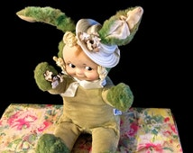 Vintage Knickerbocker, Bunny Kuddles, Kewpie Doll, Original Box, Easter Bunny, Green Corduroy Suit, Collectible Easter Toy, USA, 1950s