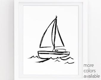 Boat print, Black and white beach, Sailboat wall art, Sailboat decor, Ocean themed decor, Sea painting, Coastal art, 5x7, 8x10, 11x14  223