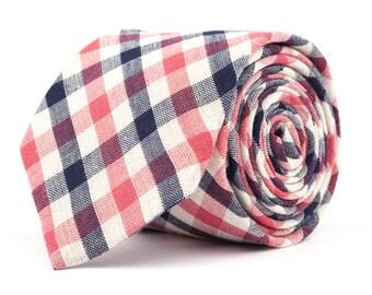 Navy & Pink Plaid Necktie