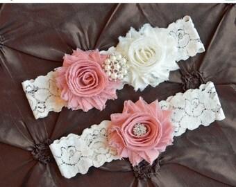 Dusty Rose Wedding Garter, Bridal Garter Belt, Ivory Lace Garter, Dusty Pink Garter, Mauve Wedding Garter Set, You Choose Colors