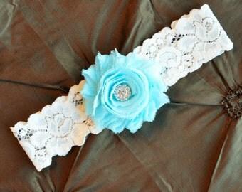 Wedding Garter, Bridal Garter, Ivory Lace Garter, Toss Garter, Shabby Chiffon Oxford, Oxford Garter, Oxford Blue, Wedding Garter Belt