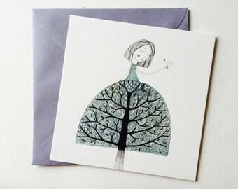 Postcard tree woman