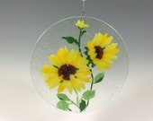 Sunflower Suncatcher Fused Glass