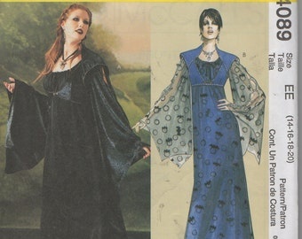 Misses Adult   Costume, Gothic  Gown Sewing Pattern, McCalls 4089  Size 14 16 18 20  Uncut