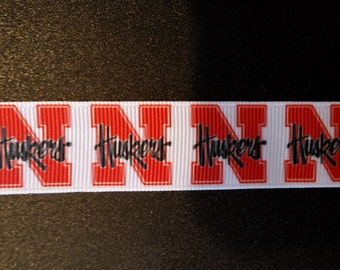 "University of Nebraska Hushers 7/8"" Inspired Grosgrain Ribbon"