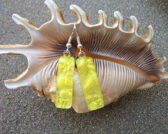 Yellow dichroic fused glass dangle earrings