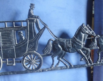Large Vintage Metal Horses and Carriage Wall Art