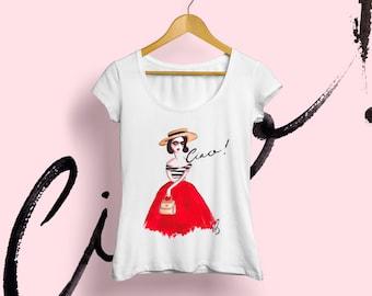 Summer fashion, Ciao t-shirt, Summer T-shirt, Summer tee, Fashion tee, Summer shirt, Fashion shirt, Cute T-shirt, Fashion illustration