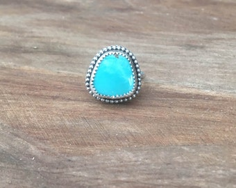 Stenich Turquoise Ring, Geometric Sterling Silver Turquoise Gemstone December Birthstone Ring