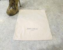 "Medium Jimmy Choo dust bag,  regift,  dustbag, 12"" x 13""  Jimmy Choo London,  storage travel upcycle,  816/627"