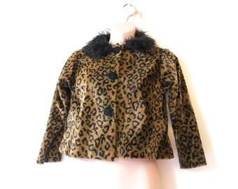 90s girl's faux leopard jacket, swing jacket, Pumpkin Patch, faux fur, 8 years, made in New Zealand, 116/20