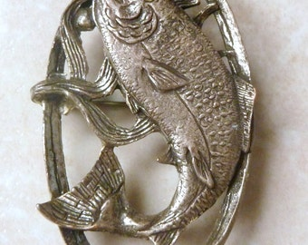 Vintage Miracle Brooch,  Scottish Brooch, Salmon Brooch, Game Fishing Brooch .