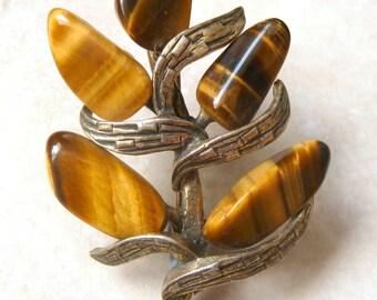 Vintage Miracle Brooch, Tigers Eye Gem Stone, Gem Set Brooch, Floral Design Brooch.
