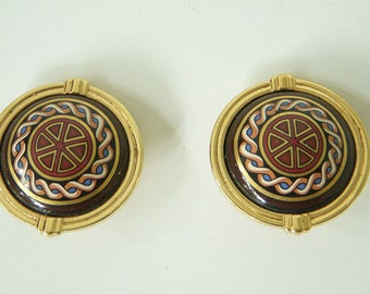 MICHAELA FREY authentic vintage enameled clip on earrings
