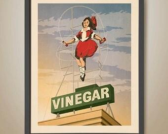 Skipping Girl Vinegar. Melbourne. Skipping Girl Sign. Melbourne Print. Melbourne Art. Melbourne Icon. Famous Signs